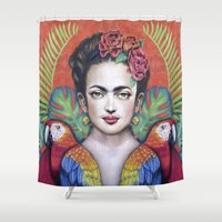 frida Shower Curtains featuring Frida by alesaenzart