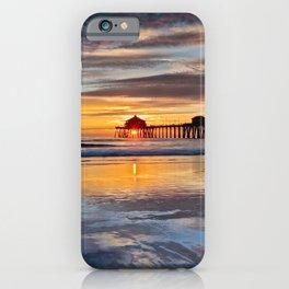 Sunset Reflections Huntington Beach Pier  1-8-15 iPhone Case