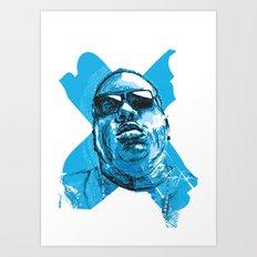 Digital Drawing 33 - Notorious B.I.G. in Blue Art Print