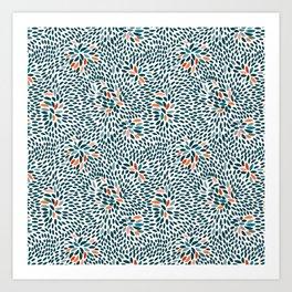 Blue Bursts Art Print