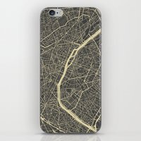 paris map iPhone & iPod Skins featuring Paris Map by Map Map Maps