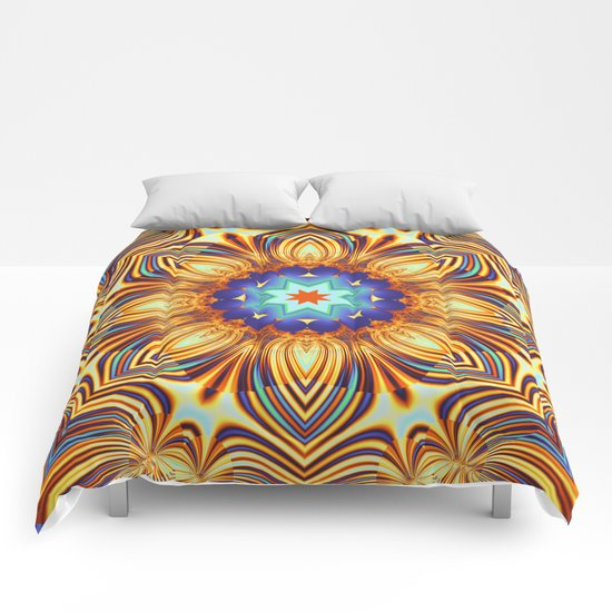 Kaleidoscope abstract with a flower shape and tribal patterns Comforters