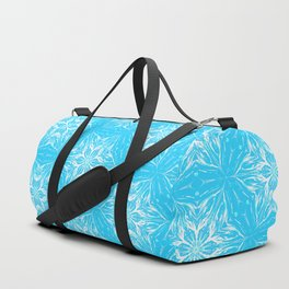 White Snowflakes stars ornament on Blue Duffle Bag