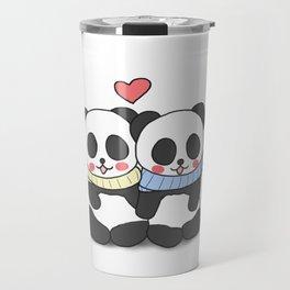 Panda Love Couple in Winter Travel Mug