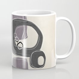 Retro Abstract Design in Charcoal Grey and Aubergine Coffee Mug