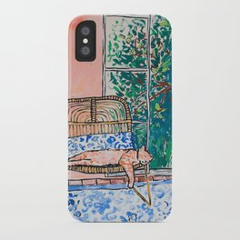 Napping Ginger Cat in Pink Jungle Garden Room iPhone Case
