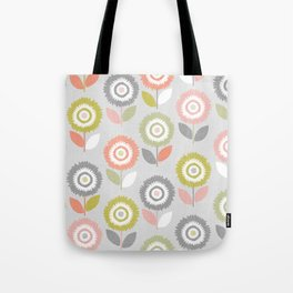 Soft Graphic Flower Pattern Tote Bag