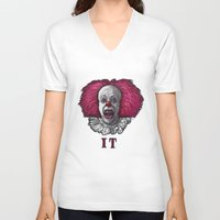 pennywise V-neck T-shirts featuring Pennywise by zinakorotkova