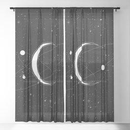 Sacred Solar System - Spiritual Healing Moon Art Sheer Curtain
