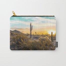 Desert Sunrise // Saguaro Cactus Summer Sun Arizona Nature Landscape Teal Blue Green Sky Carry-All Pouch