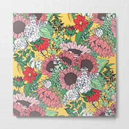 Pretty aspen gold and pink floral design Metal Print