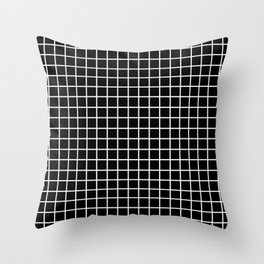 fine white  grid on black background - black and white pattern Throw Pillow