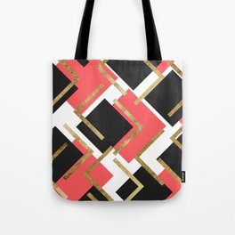 Chic Coral Pink Black and Gold Square Geometric Tote Bag