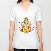 ganesha V-neck T-shirts featuring Ganesha by O. Be