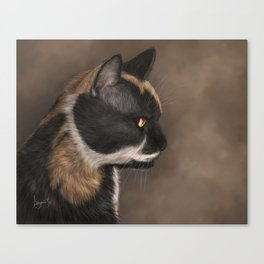 Calico Cat Painting Portrait Canvas Print