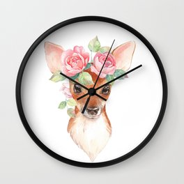Watercolor Floral Fawn Wall Clock