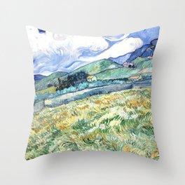 Vincent Van Gogh - Landscape from Saint Remy Throw Pillow