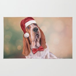 Drawing funny dog. Basset Hound in red hat of Santa Claus Rug