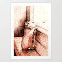 Hamster Greets the Snow Art Print