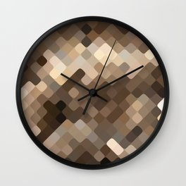 Cool Beige Brown Abstract Rounded Squares Pattern Wall Clock