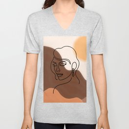 Face Line Art and Abstract sunset and Mountains Printable Art, Woman Face Line Drawing, Boho Decor Unisex V-Neck