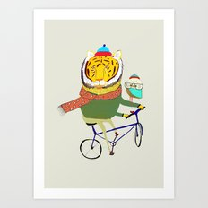 Tiger and Owl biking. Art Print