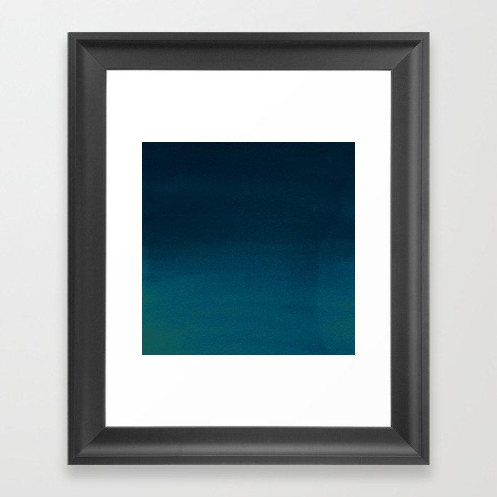 Navy blue teal hand painted watercolor paint ombre Gerahmter Kunstdruck
