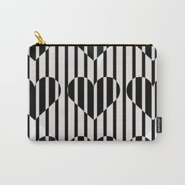 Black and White Stripe Hearts Design Carry-All Pouch