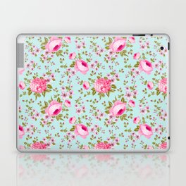 Modern neon pink teal roses hortensia floral Laptop & iPad Skin
