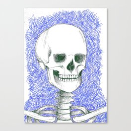 Skeleton in Blue Canvas Print