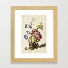 Flowers in a Bottle, Dirck de Bray, 1674 Framed Art Print