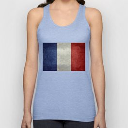 French Flag with vintage textures Unisex Tank Top