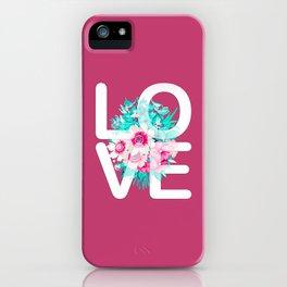 Elegant Floral Love Typography iPhone Case