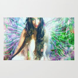 HOT SEXY FAIRY WITH PINK  WINGS NUDE BIG BREAST LADYKASHMIR ART  Rug