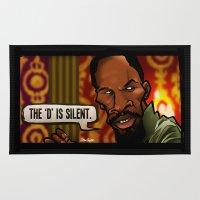 django Area & Throw Rugs featuring The D is Silent (Django) by BinaryGod.com