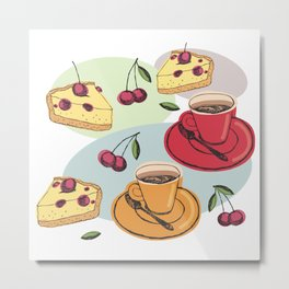 Cherry Pie And A Hot Cup Of Coffee Metal Print