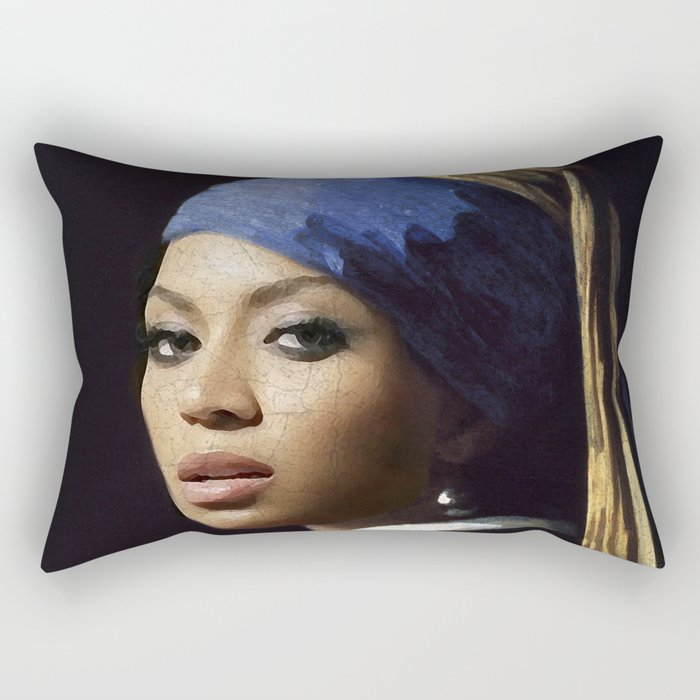 Bey with a Pearl Earring Rectangular Pillow