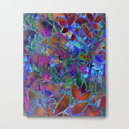 Floral Abstract Stained Glass G174 Metal Print