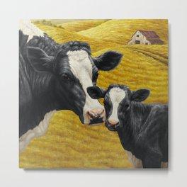 Holstein Cow and Cute Calf Metal Print