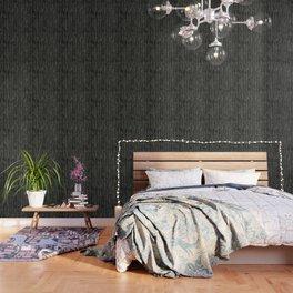Herringbone Cream on Black Wallpaper