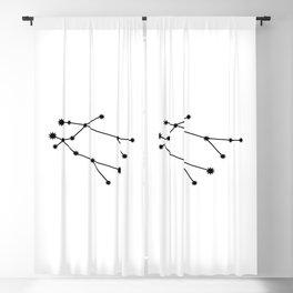 Gemini Star Sign Black & White Blackout Curtain