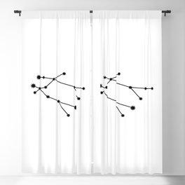 Gemini Star Sign Black & White Blackout Curtain