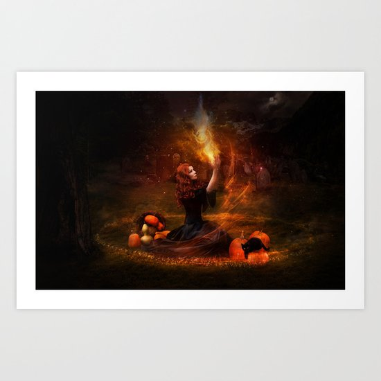 The Witch Fantasy Mystic Scene  Art Print