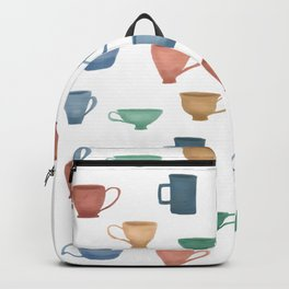 Colorful Tea Cups and Coffee Mugs Backpack