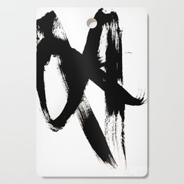 Brushstroke 2 - simple black and white Cutting Board