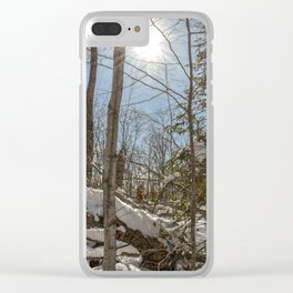 Winter Sunny Forest Scene Clear iPhone Case