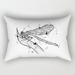 Dragonfly Handmade Drawing, Made in pencil and ink, Tattoo Sketch, Tattoo Flash, Blackwork Rectangular Pillow