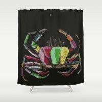 crab Shower Curtains featuring crab by Mariana Baldaia