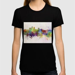 Des Moines skyline in watercolor background T-shirt