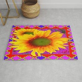 Purple-Fuchsia Yellow Sunflower Red Pattern Art Rug